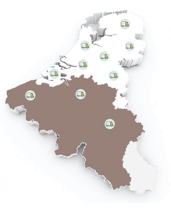Landkaart NL & België