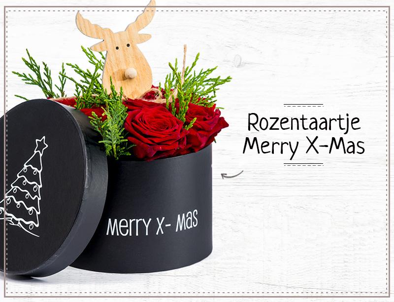 Kerst rozentaartje Merry X-Mas