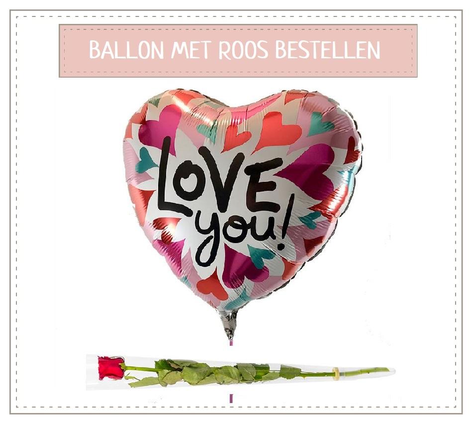 Love You ballon met roos